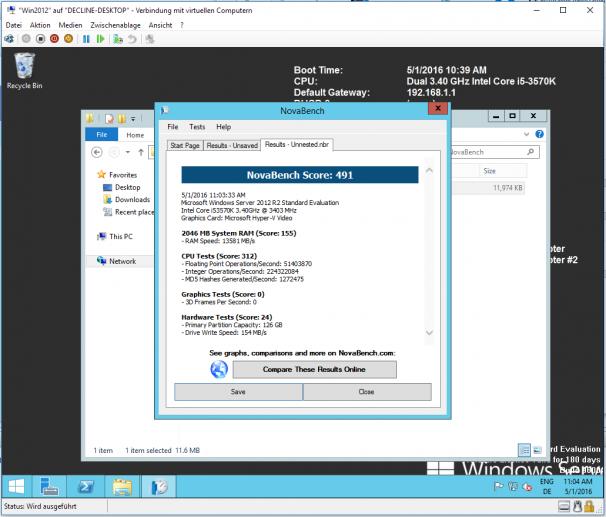 Testergebnisse ohne Nested Virtualization