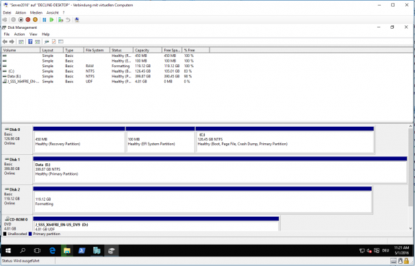 Disk Management der Server 2016 VM