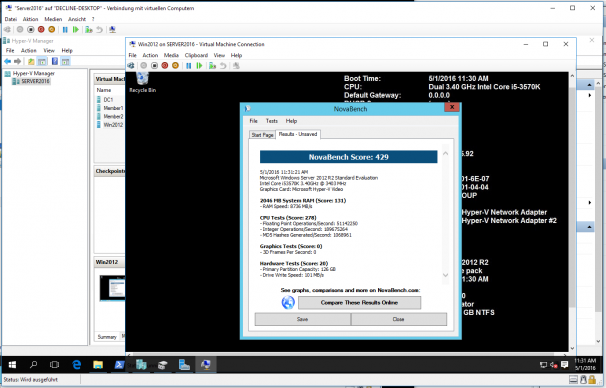 Testergebnisse der verschachtelten Benchmark-VM