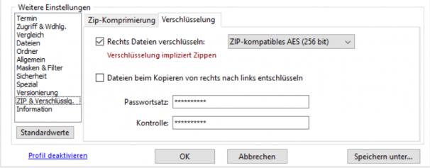 Konfiguration der Verschlüsselung des Backups