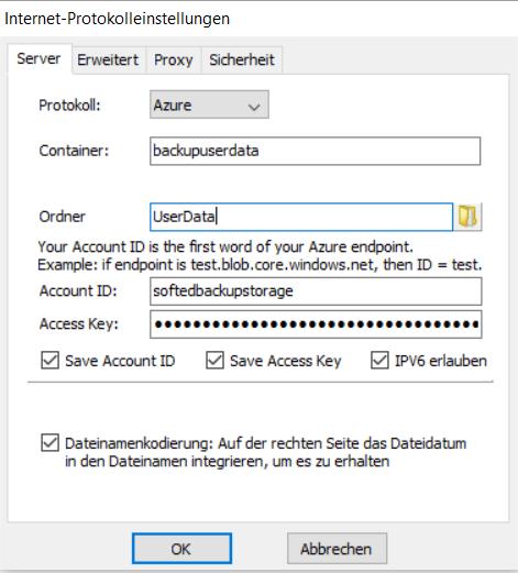 Konfiguration des Zugriffs auf den Azure Speichercontainer