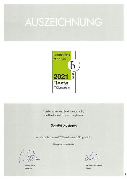 """Ausgezeichnet! SoftEd auf der brand eins Liste der """"Besten IT-Dienstleister 2021"""" 2"""